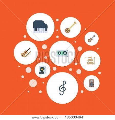 Flat Audio Box, Musical Instrument, Turntable And Other Vector Elements. Set Of Audio Flat Symbols Also Includes Box, Orchestra, Octave Objects.