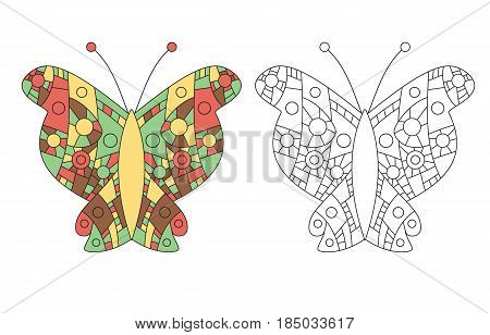 Coloring page for adult zentangle anti-stress drawing. Butterfly colored and outlined templates. Vector illustration.