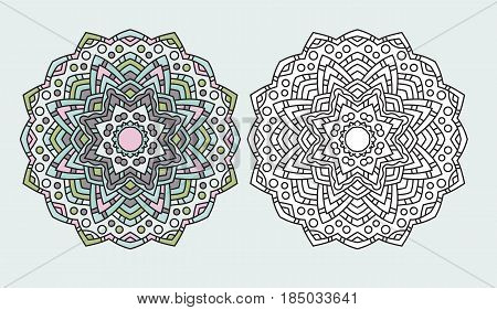 ABstract mandala flower symbol zen-tangle coloring drawing page vector illustration.