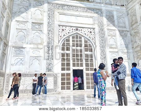 The entrance to Taj Mahal October 29, 2016, Agra Uttar Pradesh state India