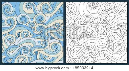 Zentangle antistress coloring page for adults anstract waves ocean symbol vector illustration. Handdrawn water doodle style design