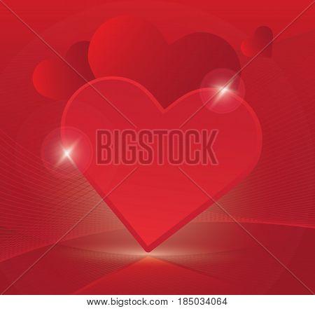 Heart symbol romantic love vector background. Purple festive gift card template. Invitation decor pattern.