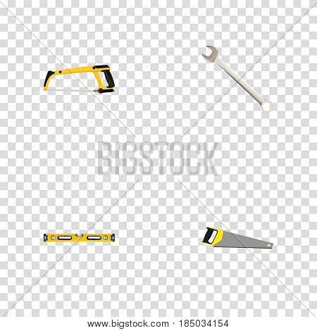 Realistic Arm-Saw, Spanner, Plumb Ruler And Other Vector Elements. Set Of Instruments Realistic Symbols Also Includes Level, Saw, Key Objects.