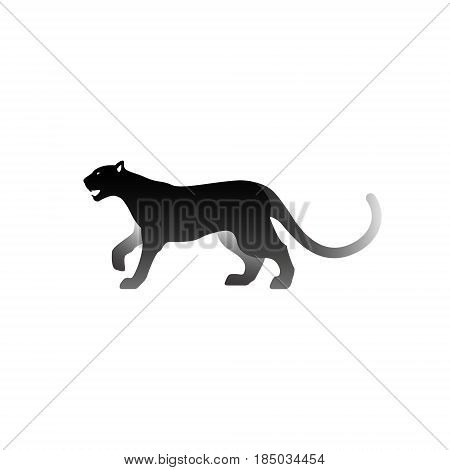 Vector illustration of black panther. Isolated on white background. Icon logo panther side view.