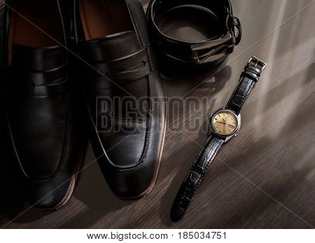 Businessman accessories. Man's style. Men's Accessories : Men's butterfly Men's shoes men's watches. Set groom Butterfly shoes Belts Watches