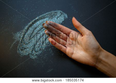 Glitter On Their Hands. Glitter Texture Christmas Abstract Background. Colored Sparkle Background. G