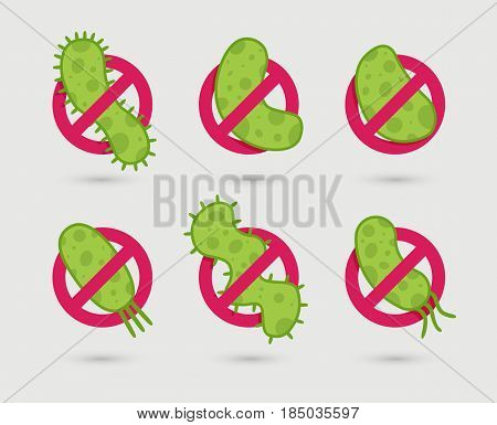 Antibacterial sign with green germs illustrations. Isolated vector illustration.