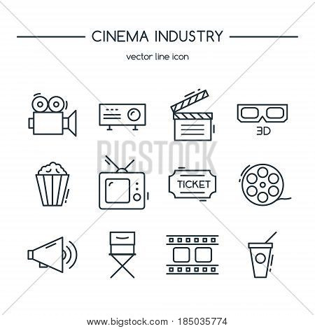 TV industry icons line set. Vector illustration.