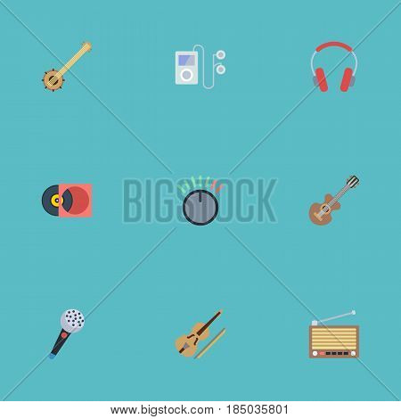 Flat Fiddle, Mp3 Player, Radio And Other Vector Elements. Set Of Studio Flat Symbols Also Includes Banjo, Audio, Violin Objects.