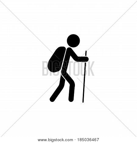 Tourist backpacker solid icon, travel tourism, man with backpack and hiking, a filled pattern on a white background, eps 10.