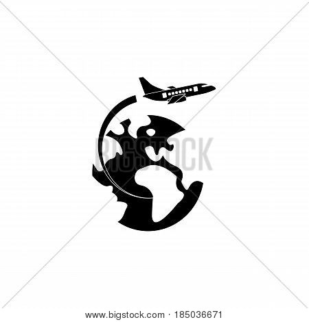 Airplane flying around earth solid icon, travel tourism, aircraft and world, a filled pattern on a white background, eps 10.