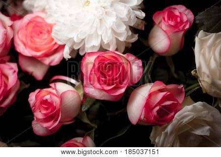 Still Life Of Rose Bouquet Flower. Beautiful Fresh Pink Roses. Rose Posy Wedding Bouquet. Heap Of Pi