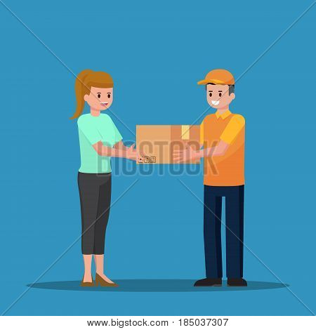 Delivery Man Handing A Parcel To Woman Customer.
