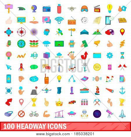 100 headway icons set in cartoon style for any design vector illustration