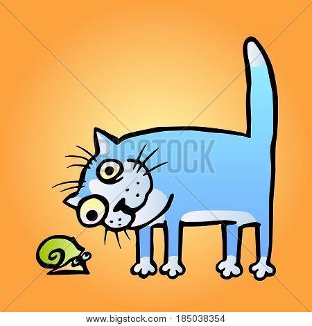 cat watching snail. vector illustration. cartoon kitten and funny slug.