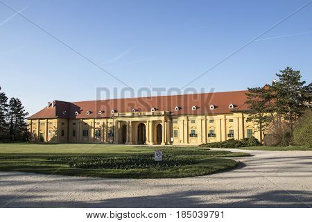 The riding hall in early morning sun at Lednice Castle. An 1800s palace built on a Renaissance chateau & Gothic fort with a riding hall & formal gardens Lednice is a village in South Moravia in the Czech Republic. In 1996 it was inscribed on the ... The p