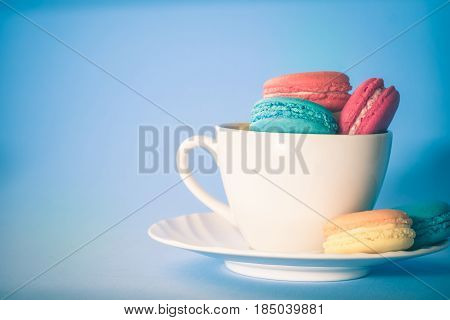Assorted Colorful French Cookies Macaroons, Almond Cookies With Pastel Colors