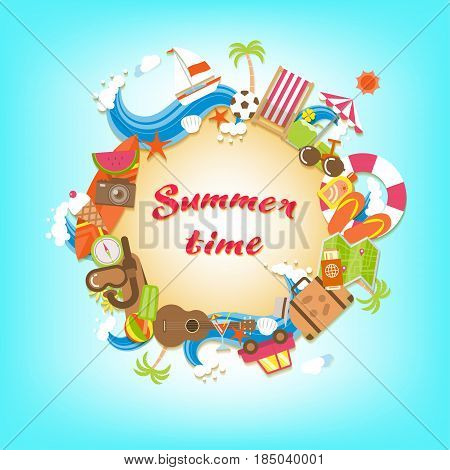 Summer time sandy circle banner surrounded with colorful beach elements and accessories