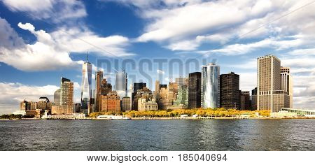 The New York City panorama and financial district