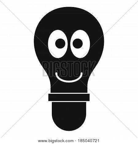 Smiling light bulb with eyes icon in simple style isolated vector illustration