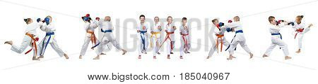 Children in karategi are training blows on white background collage