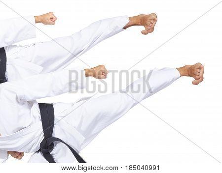 On a white background two blows yoko-geri collage