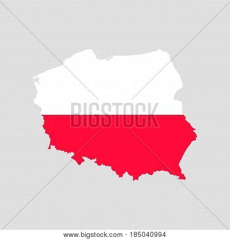 Poland falg map isolated on grey background