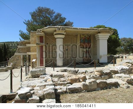 The South Propylaeum with Stunning Wall Fresco, Archaeological Site and Palace of Knossos, Crete Island of Greece