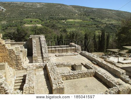 The Impressive Archaeological Site and Palace of Knossos, UNESCO World Heritage Site on Crete Island, Greece