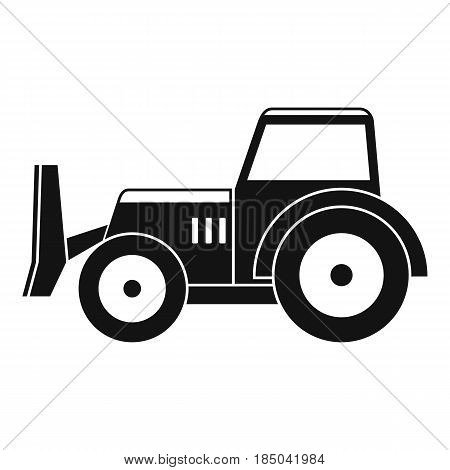 Skid steer loader bulldozer icon in simple style isolated vector illustration