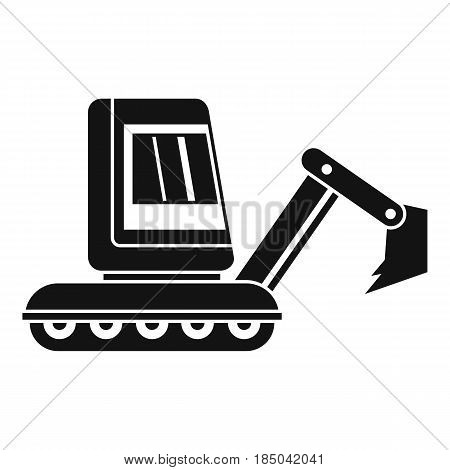 Mini excavator icon in simple style isolated vector illustration