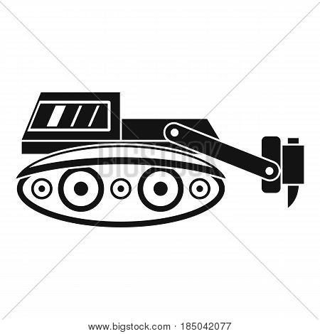 Excavator with hydraulic hammer icon in simple style isolated vector illustration