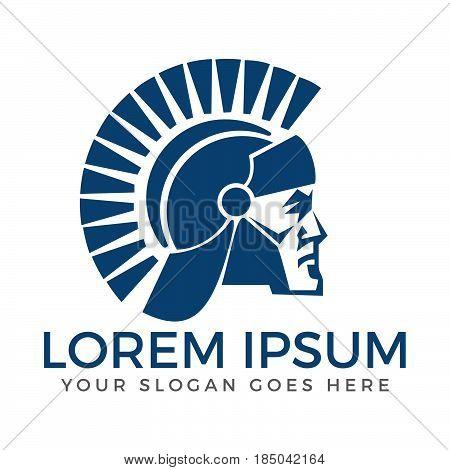 Spartan warrior. Abstract ancient soldier face vector logo design.