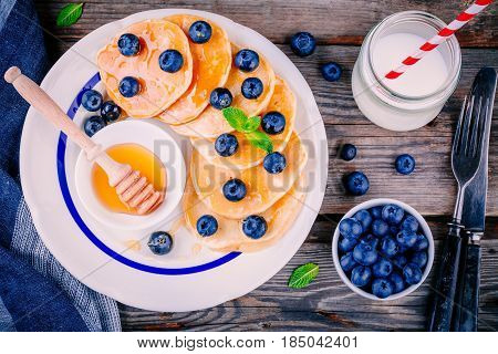 Healthy Breakfast: Pancakes With Blueberries And Honey Syrup