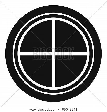 White round window icon in simple style isolated vector illustration
