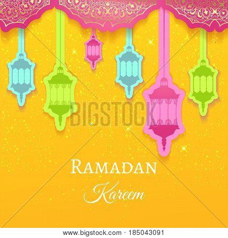Ramadan Kareem Greeting Background Colored Arabic Design Patterns And Lanterns, Arabic Lamp For Prom