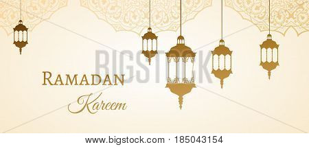 Ramadan Kareem Gold Greeting Background Template Arabic Design Patterns And Lanterns, Arabic Lamp Fo