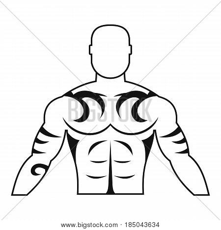 Muscular man with tattoo icon in simple style isolated vector illustration