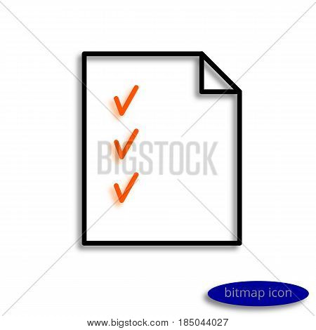 A Sheet Of Paper With Orange Ticks And A Curved Corner Casting A Shadow, A Graphic Bitmap Line Icon