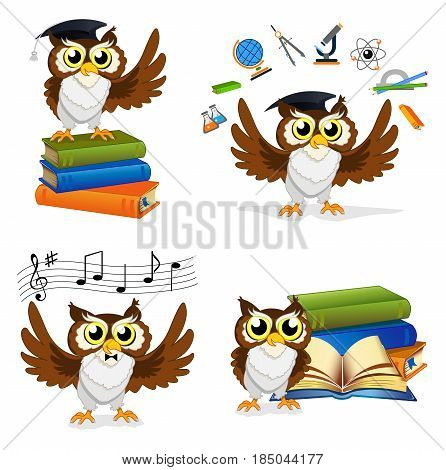 Wise Owl Teacher Set. Color vector illustration