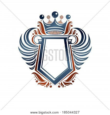 Blank heraldic coat of arms decorative emblem with copy space and cartouche. Empty winged protection shield emblem created with imperial crown isolated vector illustration.