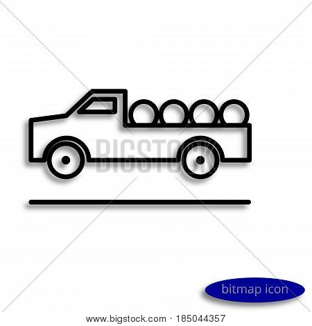 Simple Raster Line Image Of A Truck With Agricultural Products, A Linear Icon For An Agricultural Fa