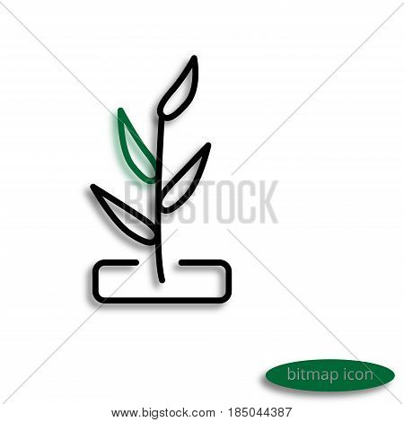 A Simple Raster Linear Image Of An Agricultural Plant, A Line Icon For An Agricultural Farm