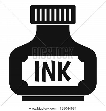 Black ink bottle icon in simple style isolated vector illustration