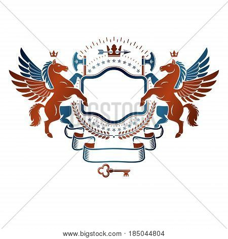 Graphic vintage emblem composed with winged Pegasus ancient animal element royal crown and sharp hatchets. Heraldic vector design element. Retro style label heraldry logo.