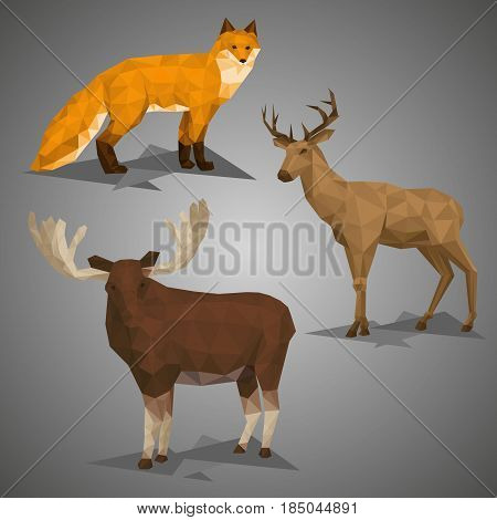 Low poly forest animal compilation. Vector illustration set in polygonal style. Fox deer and elk on gray background.