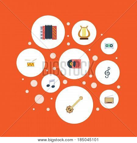 Flat Tape, Tambourine, Retro Disc And Other Vector Elements. Set Of Music Flat Symbols Also Includes Lyre, Clef, Tambourine Objects.