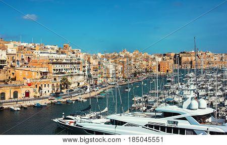 Yacht dock at Birgu bay Malta EU