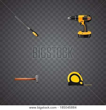 Realistic Sharpener, Electric Screwdriver, Length Roulette And Other Vector Elements. Set Of Tools Realistic Symbols Also Includes Sledgehammer, Measure, Tape Objects.