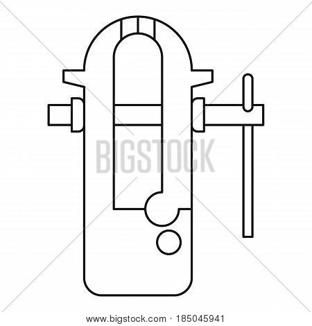 Blacksmiths vice icon in outline style isolated vector illustration